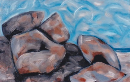 "Beach Forms, oil on canvas,  42"" x 32.5"", 1997, $1200"