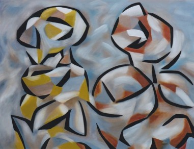 Conversing Figures, oil on canvas, 60