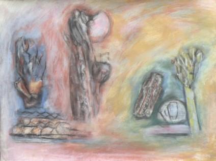 Fragmentation, natural ochres, charcoal, ink, 30