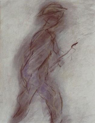 Artist at Work, pastel, 12