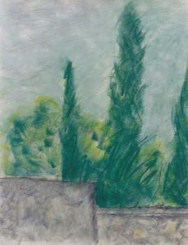 Cypresses Near Ste. Raphael, pastel, 16