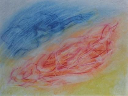 Leda and the Swan, pastel, 16