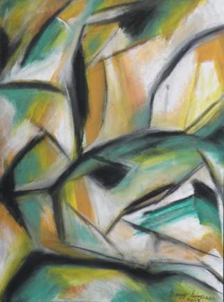 Ochre Landscape, gouache and pastel, 12
