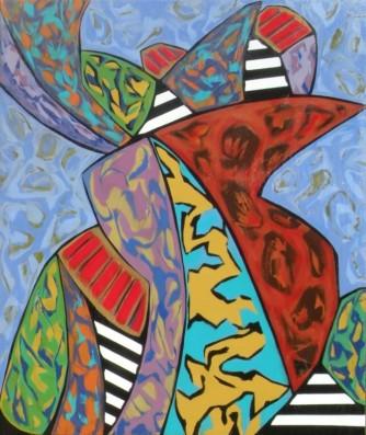 """Mashup Monument, acrylic on canvas, 67"""" x 56"""", 2015"""