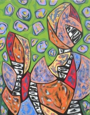 """Still Life Monument, acrylic on canvas, 56"""" x 67"""", 2015"""