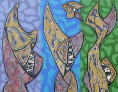 "The Acrobats, acrylic on canvas, 47.5"" x 61.5"", 2016"